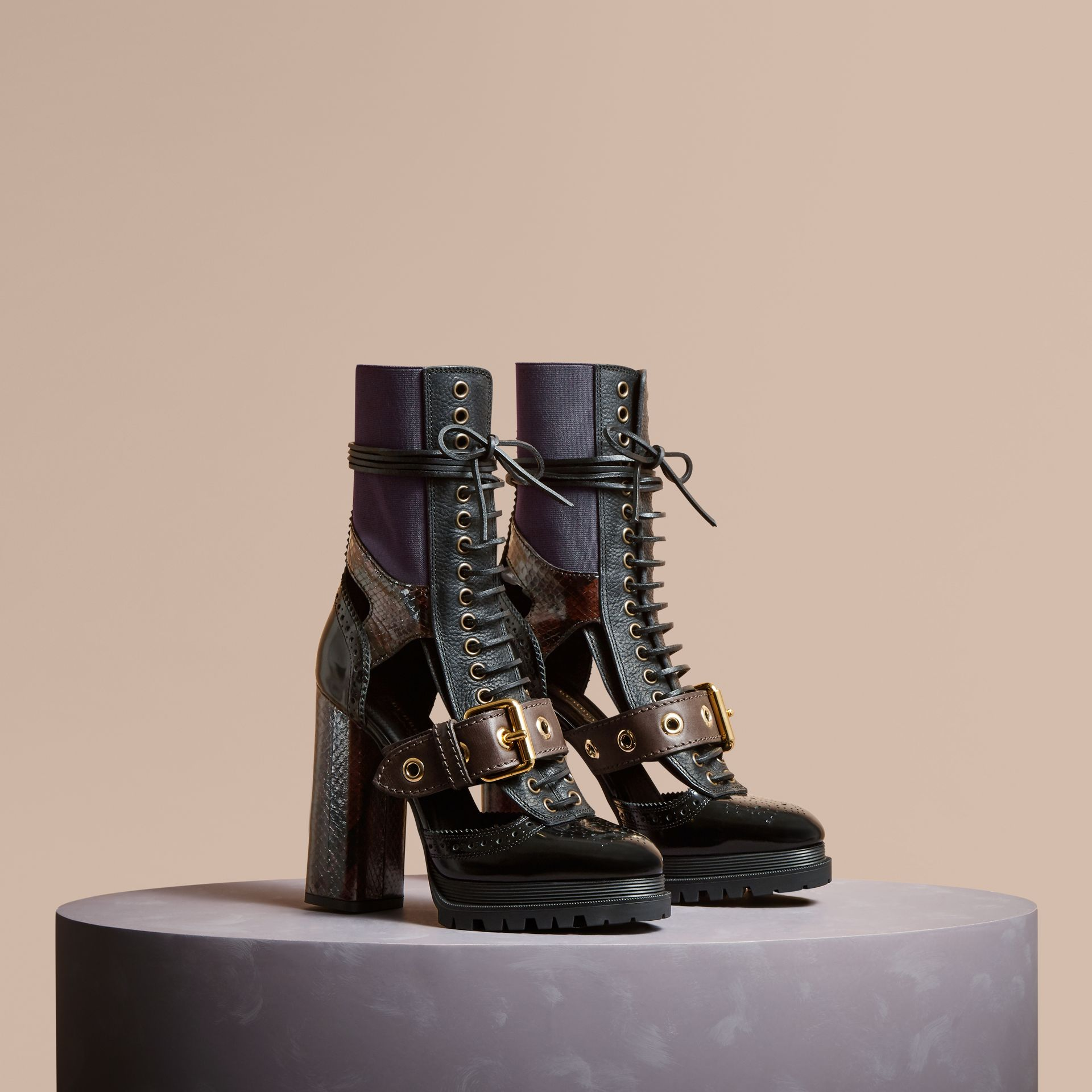 Leather and Snakeskin Cut-out Platform Boots Dark Chocolate - gallery image 1