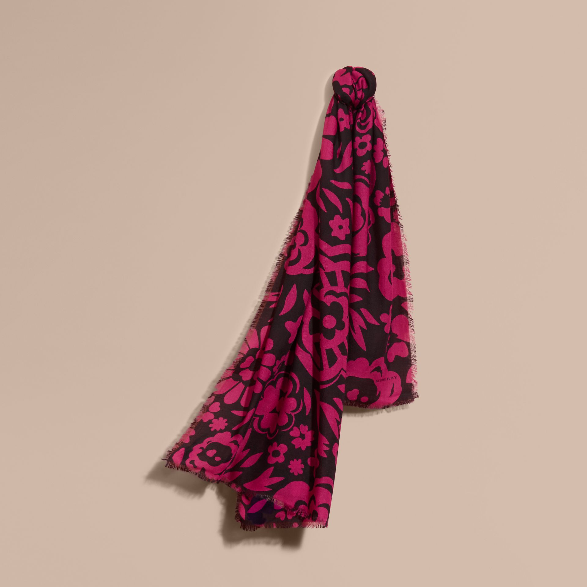 Black/fuchsia Graphic Floral Cashmere Scarf - gallery image 1