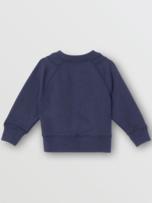 Kingdom Motif Cotton Sweatshirt in Slate Blue Melange - Children | Burberry Australia - cell image 3
