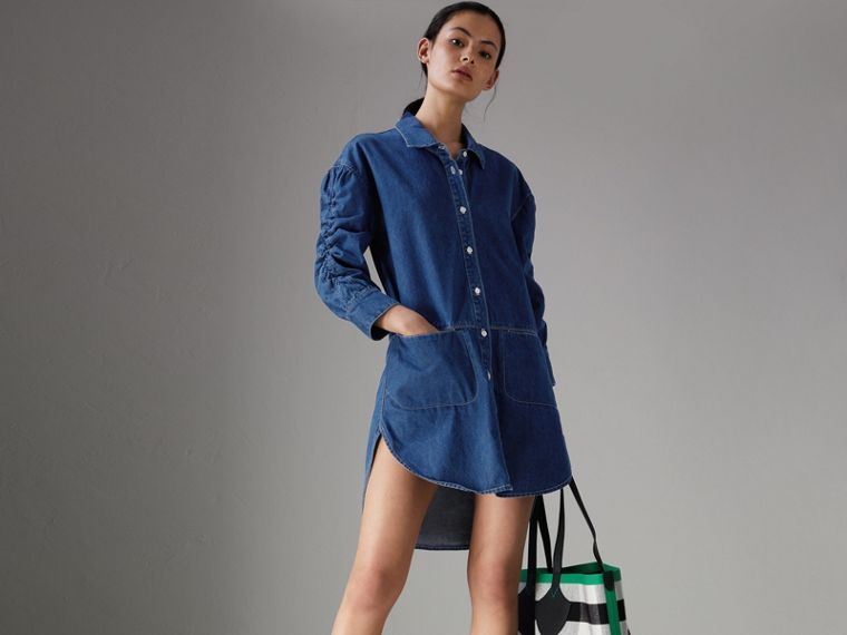 Japanese Cotton Shirt Dress in Light Indigo - Women | Burberry United States - cell image 4