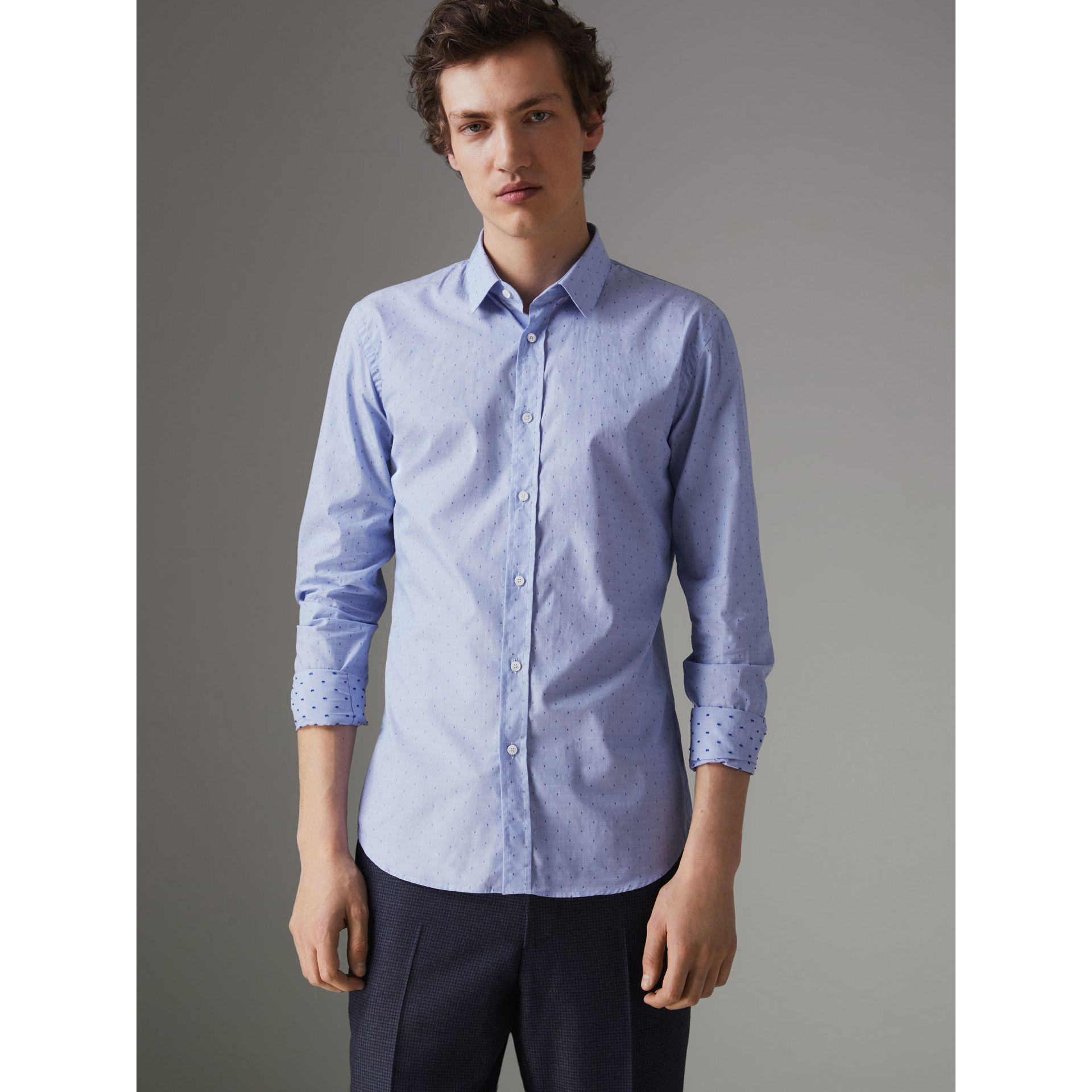 Slim Fit Fil Coupé Cotton Shirt in Light Blue - Men | Burberry Australia - gallery image 0