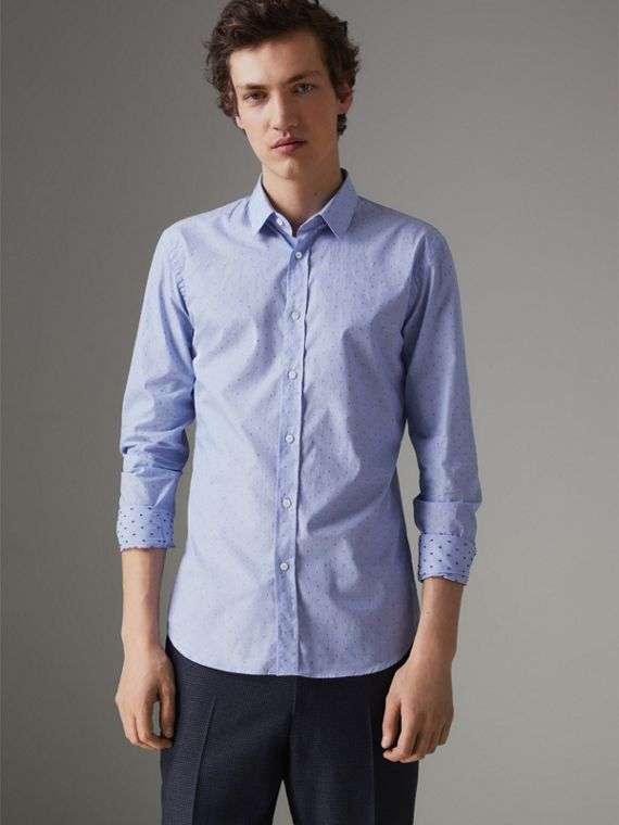 Slim Fit Fil Coupé Cotton Shirt in Light Blue