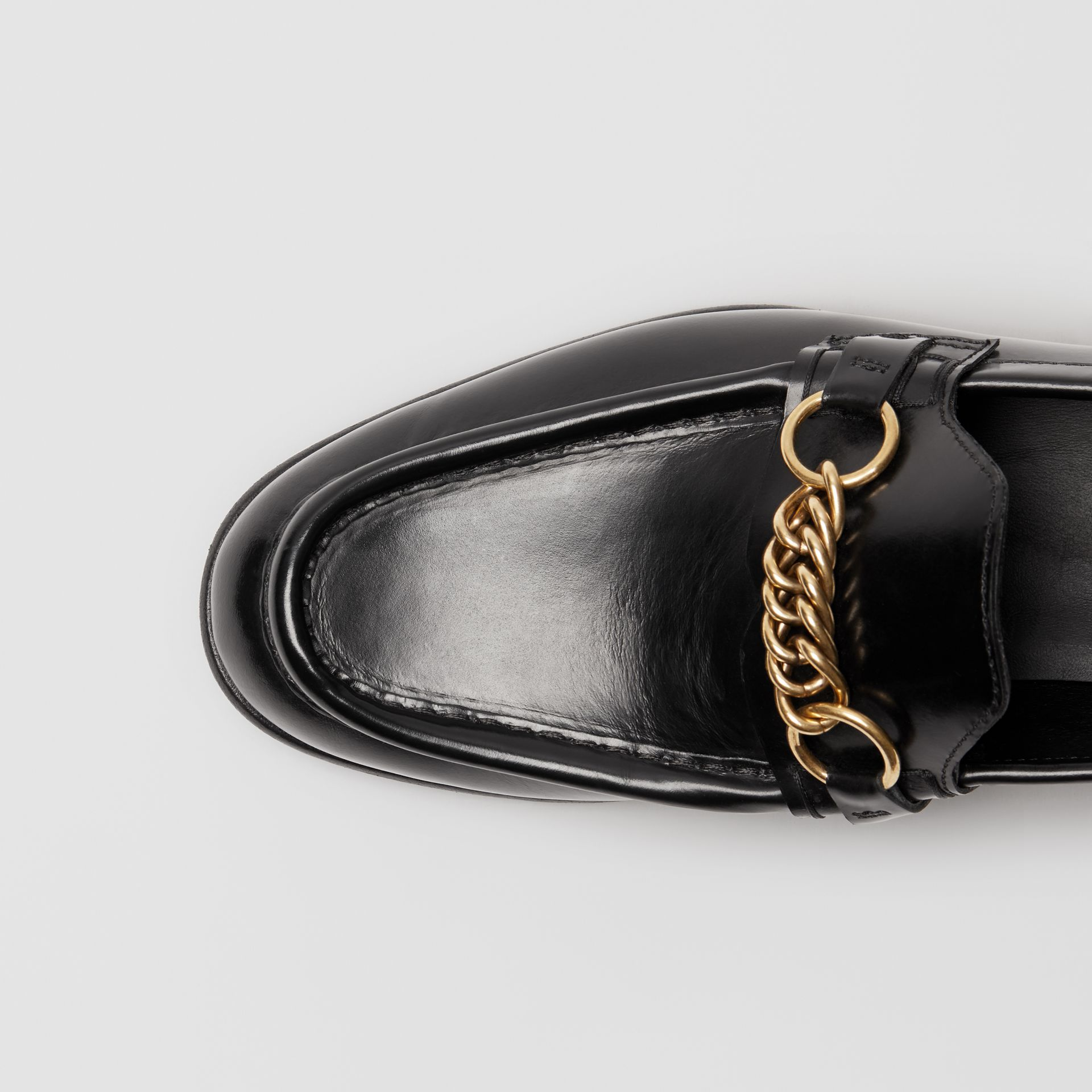 The Leather Link Loafer in Black - Women | Burberry - gallery image 1