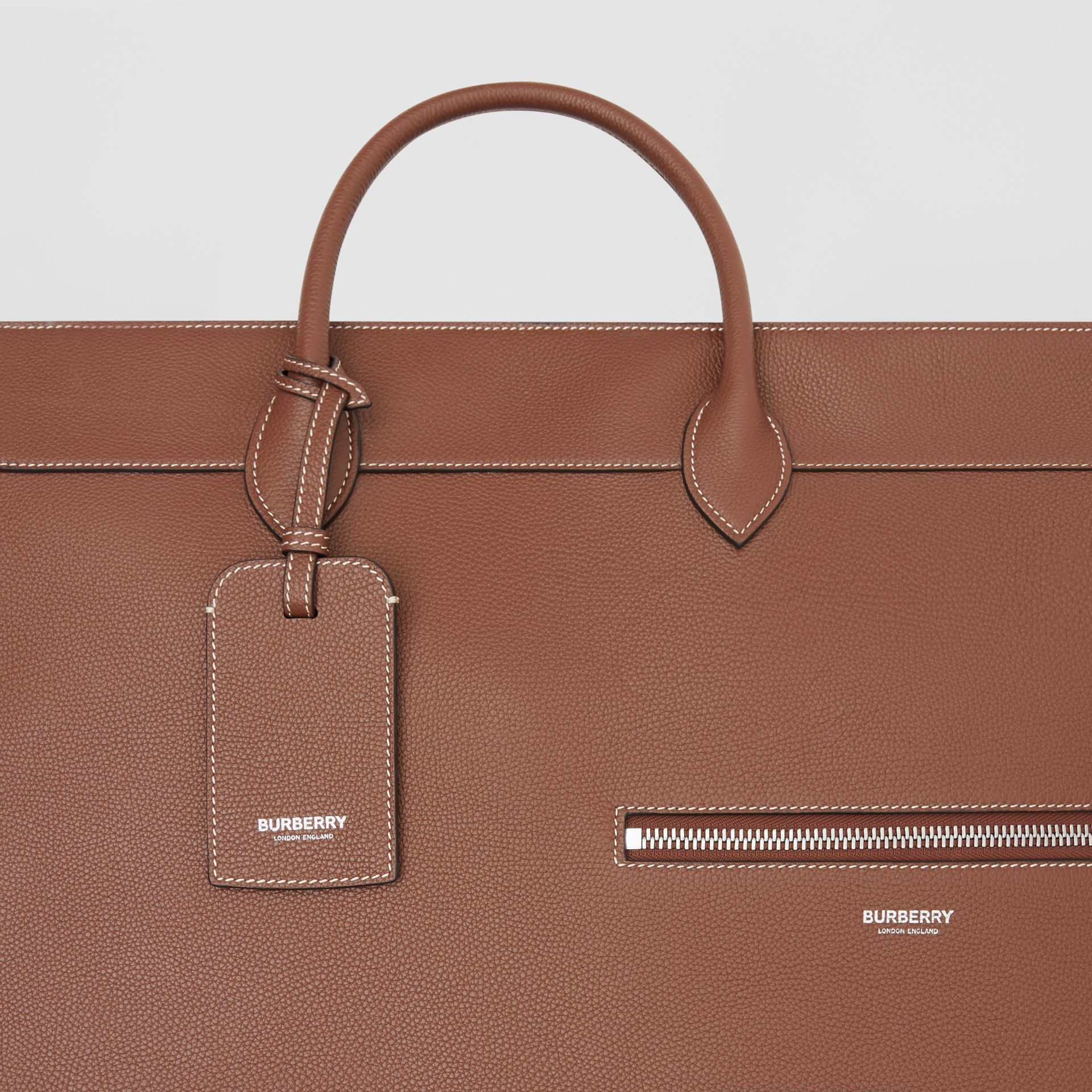 Grainy Leather Holdall in Tan - Men | Burberry Canada - gallery image 8