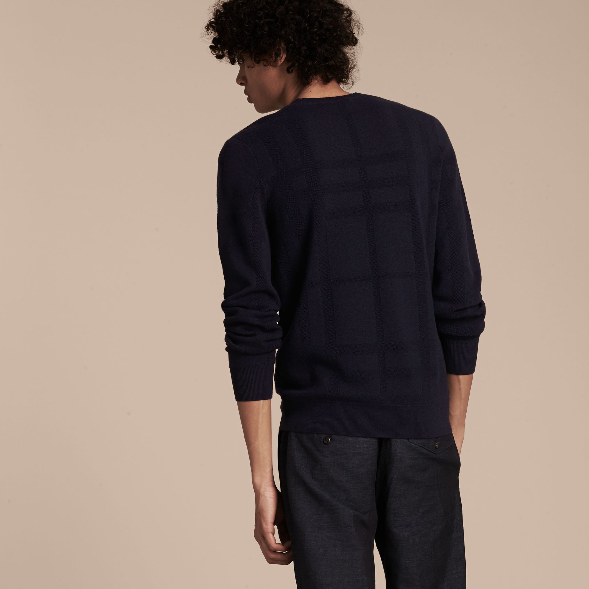 Navy Lightweight Check Jacquard Silk Wool Sweater - gallery image 3