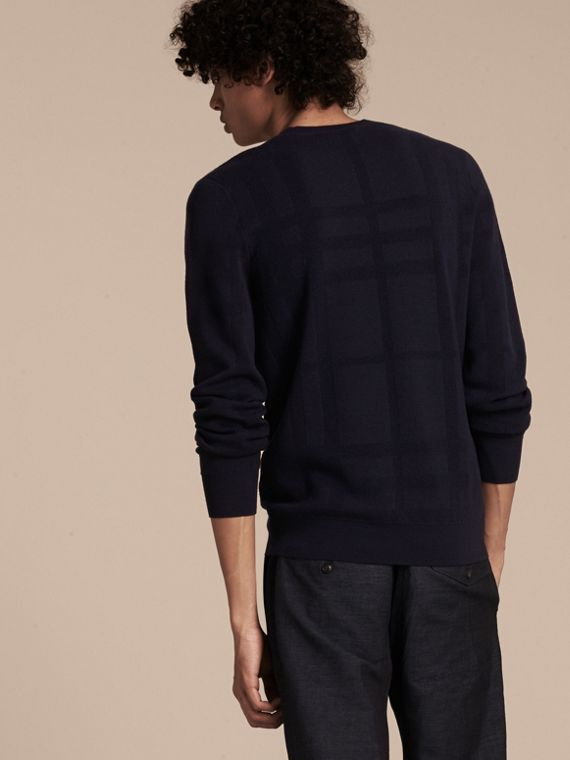 Navy Lightweight Check Jacquard Silk Wool Sweater - cell image 2