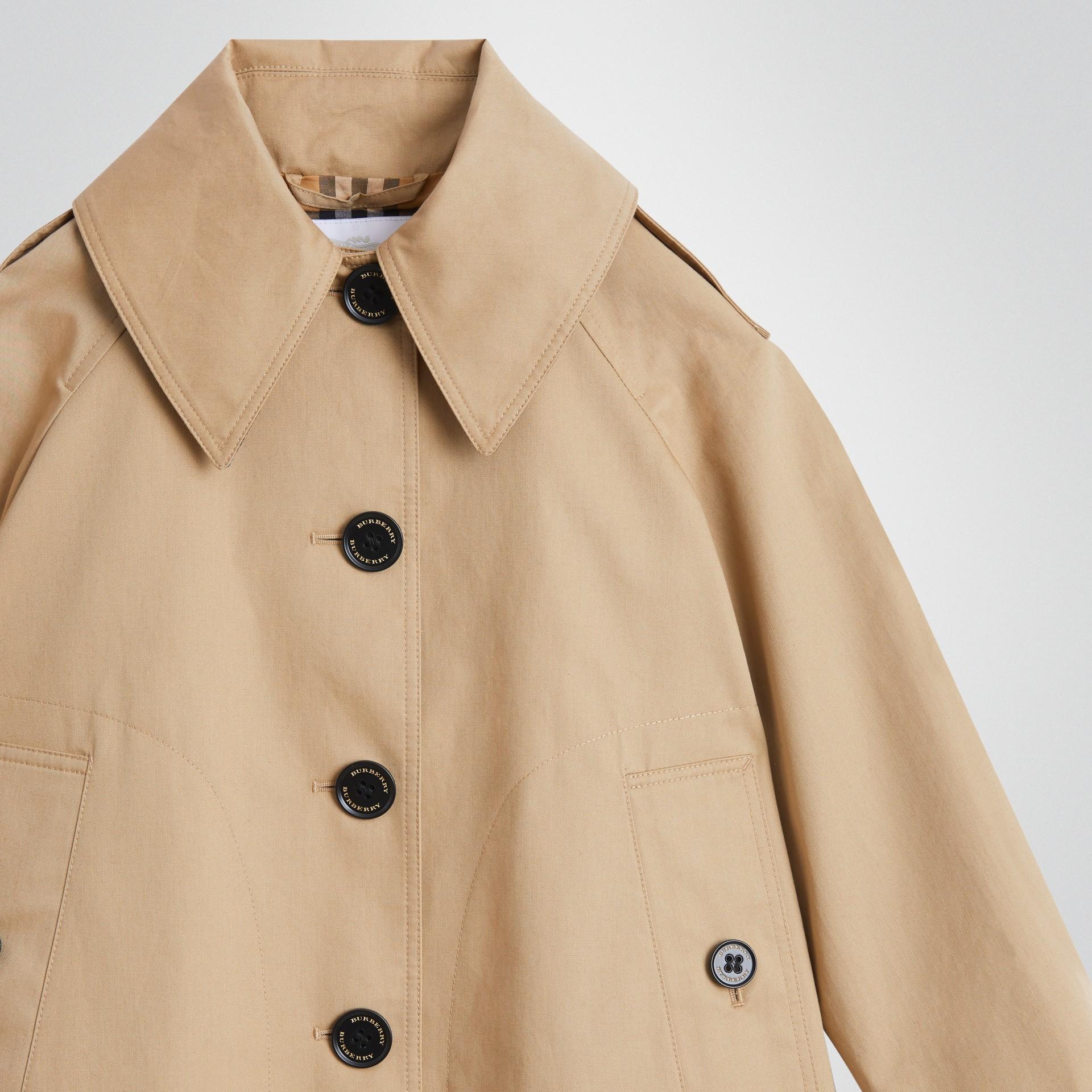 Detachable Hood Showerproof Cotton Swing Coat in Honey | Burberry United States - gallery image 4