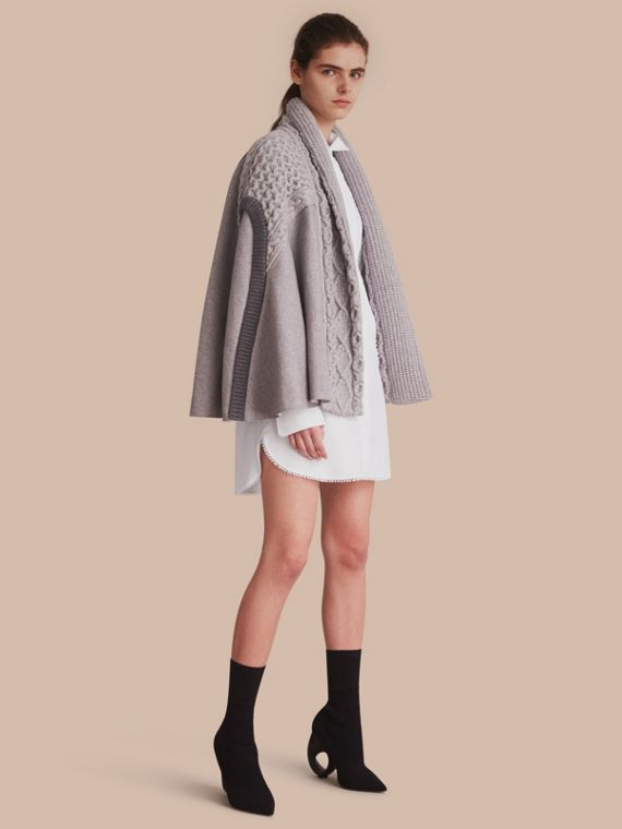 Cable Knit Cotton Blend Panelled Poncho in Grey Melange