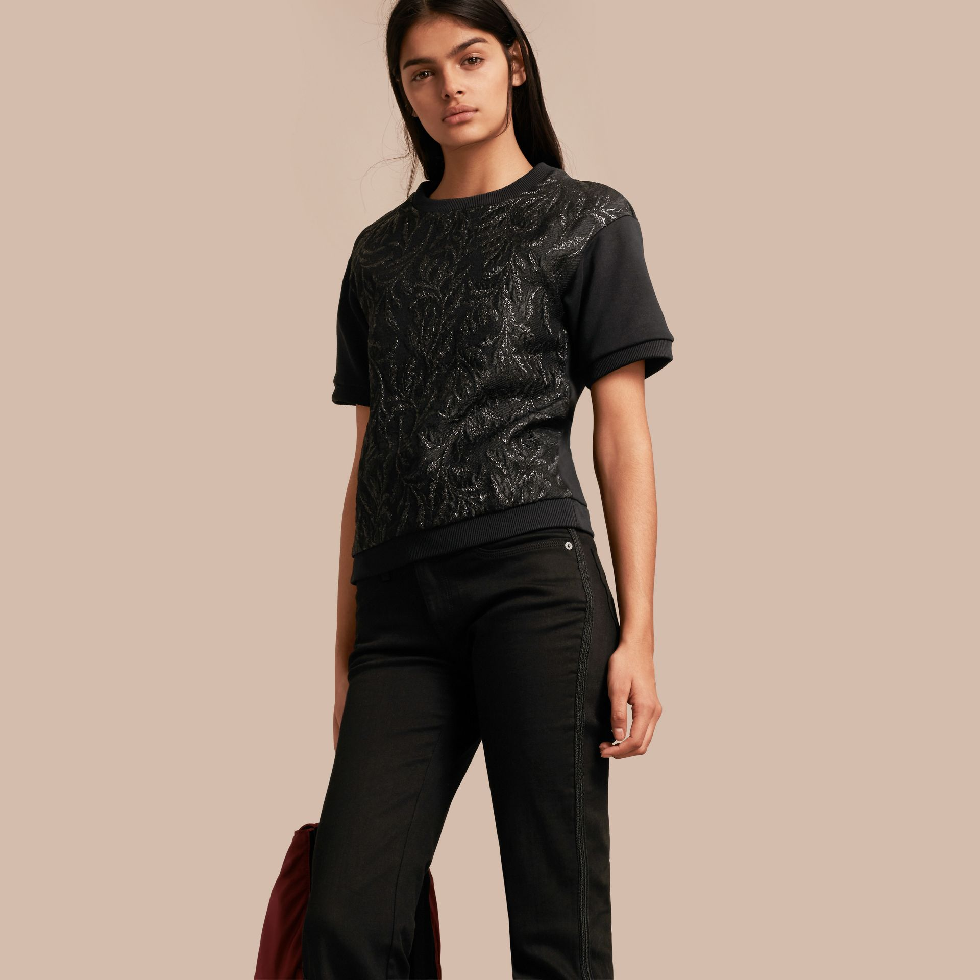 Black Short-sleeved Jacquard-front Cotton Blend Sweatshirt - gallery image 1