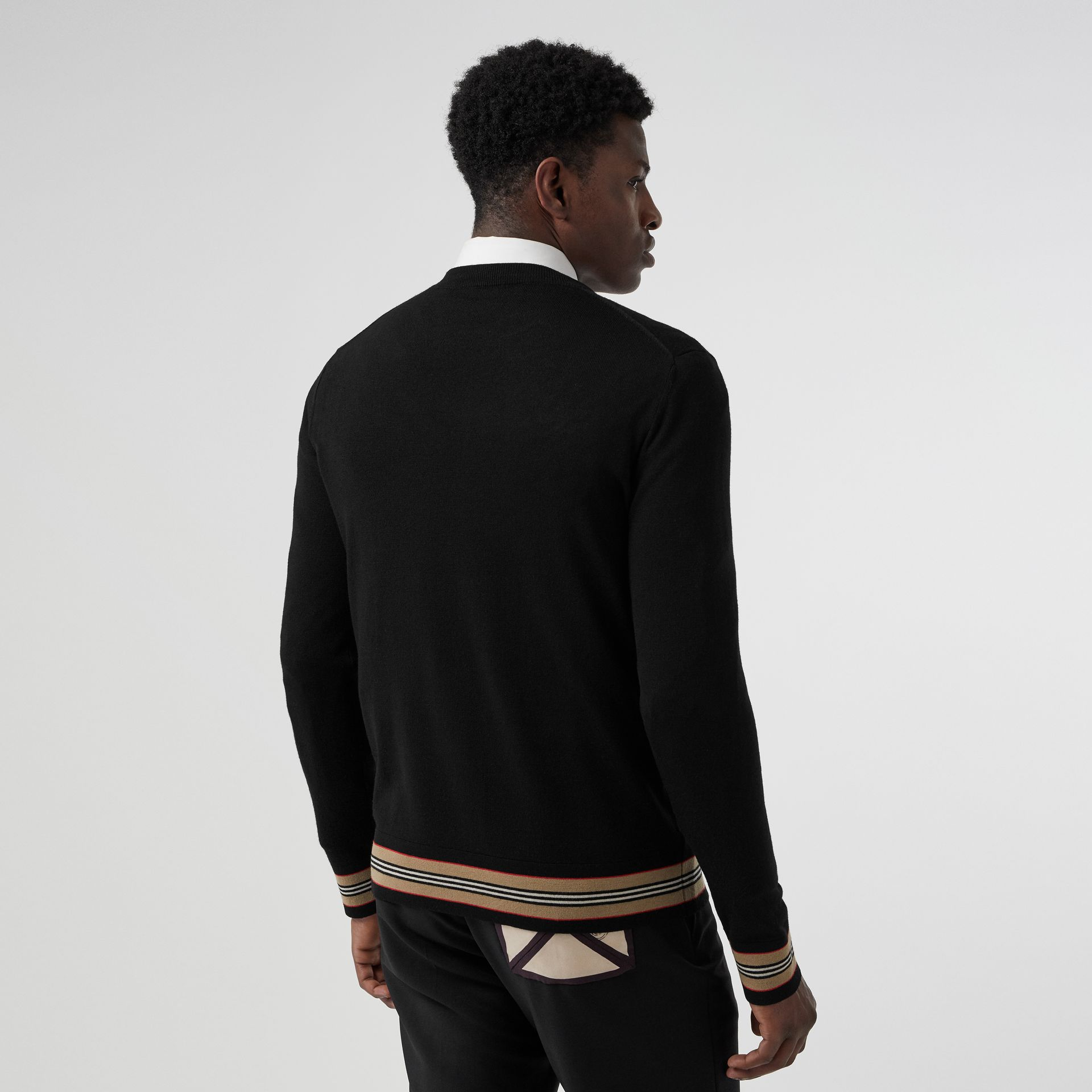Icon Stripe Detail Merino Wool Sweater in Black - Men | Burberry United Kingdom - gallery image 2