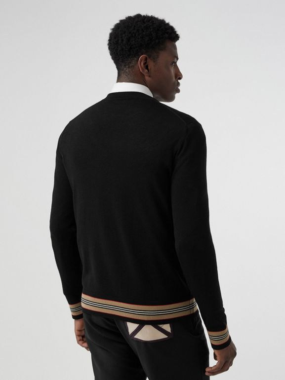 Icon Stripe Detail Merino Wool Sweater in Black - Men | Burberry - cell image 1