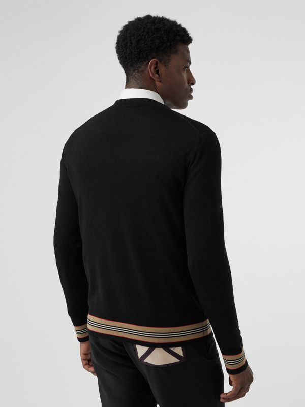 Icon Stripe Detail Merino Wool Sweater in Black - Men | Burberry United Kingdom - cell image 2