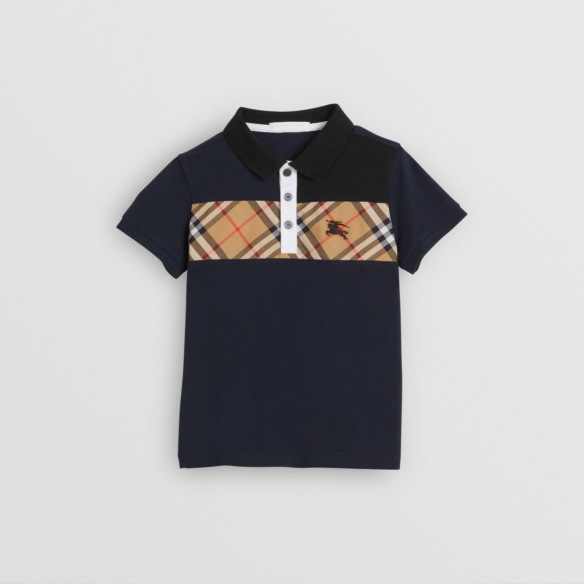 Vintage Check Panel Cotton Polo Shirt in Navy | Burberry - gallery image 0