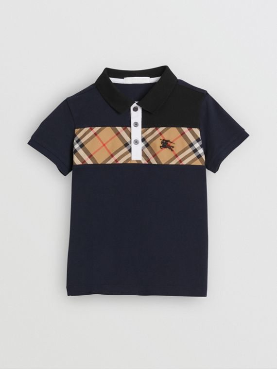 Vintage Check Panel Cotton Polo Shirt in Navy