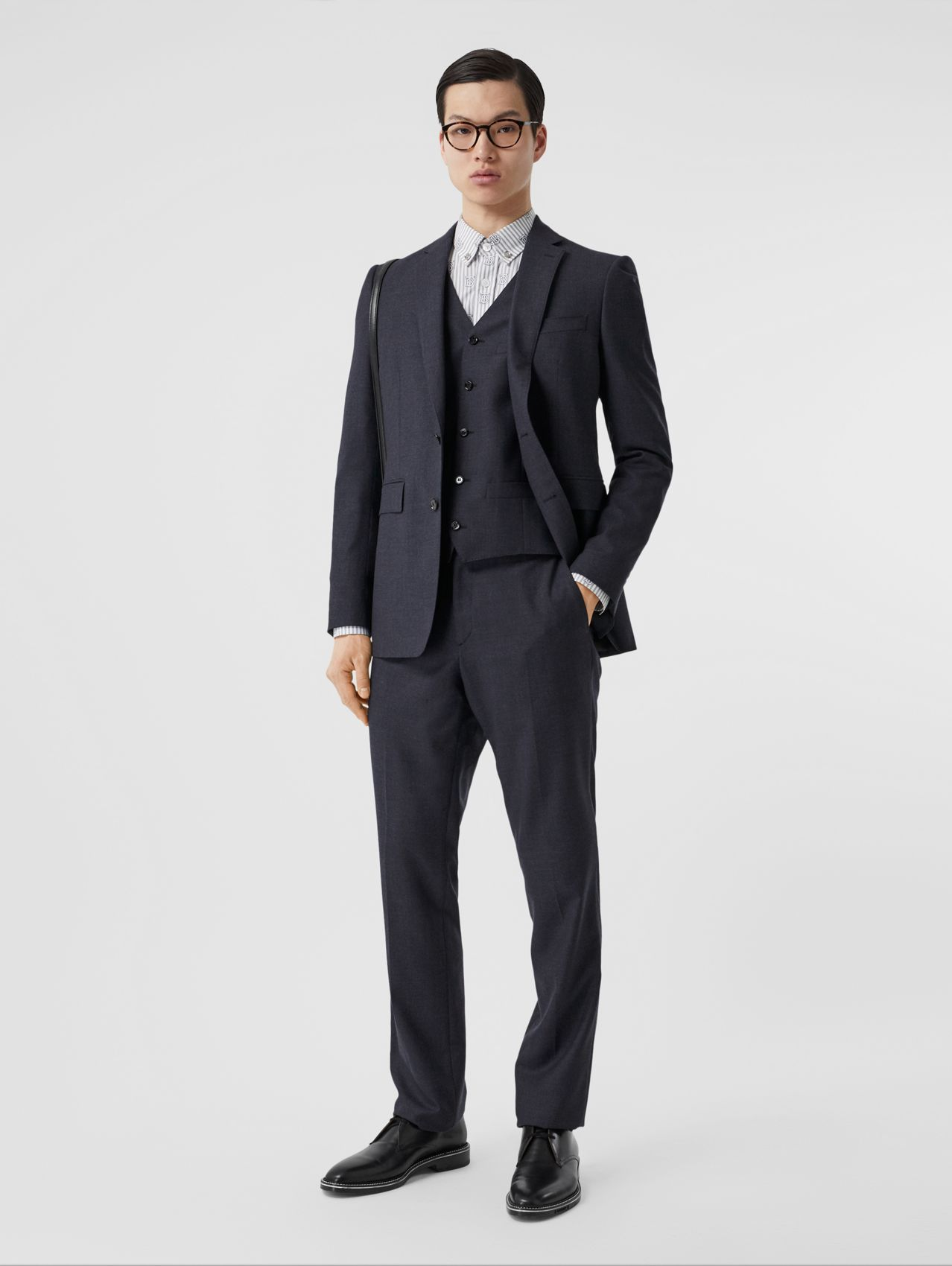 Classic Fit Wool Three-piece Suit in Navy