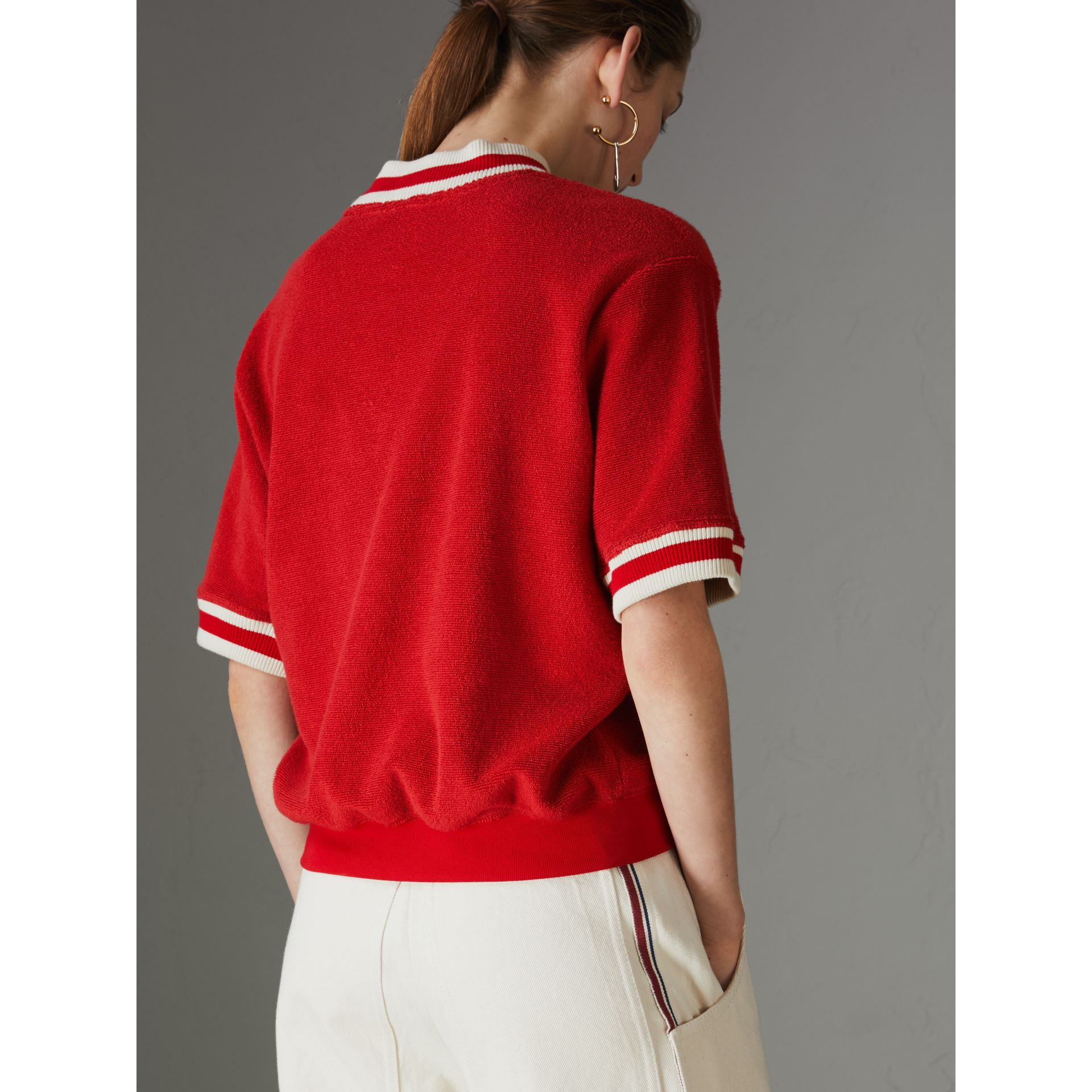 Stripe Detail Cotton Terry Top in Military Red - Women | Burberry - gallery image 2