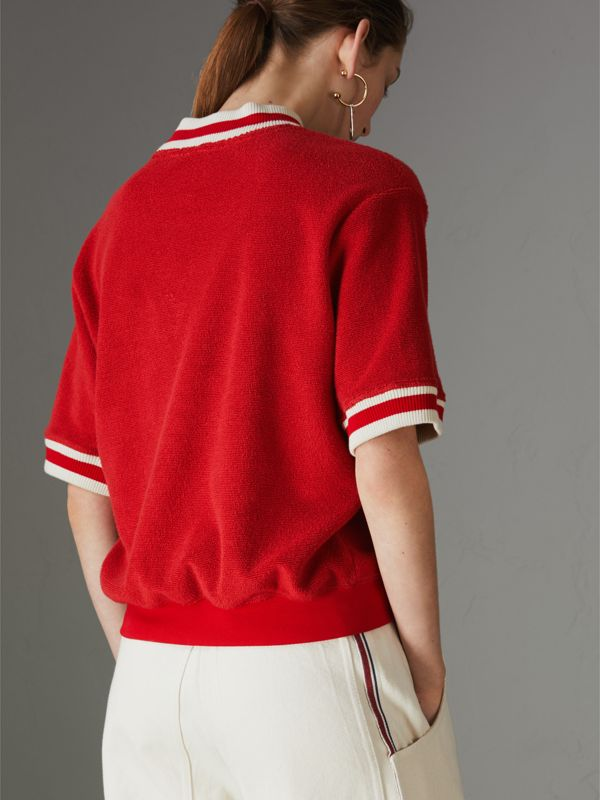 Stripe Detail Cotton Terry Top in Military Red - Women | Burberry - cell image 2