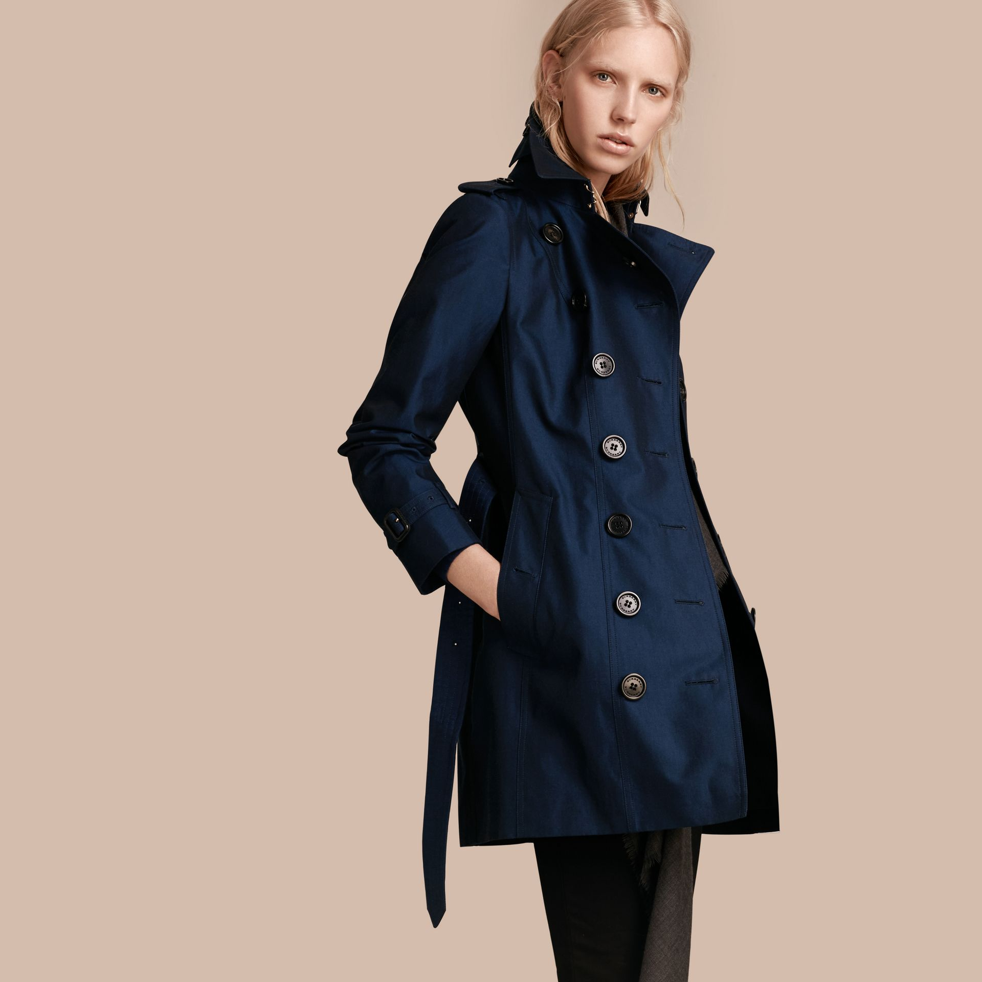 Bright regency blue Cotton Gabardine Trench Coat Bright Regency Blue - gallery image 1