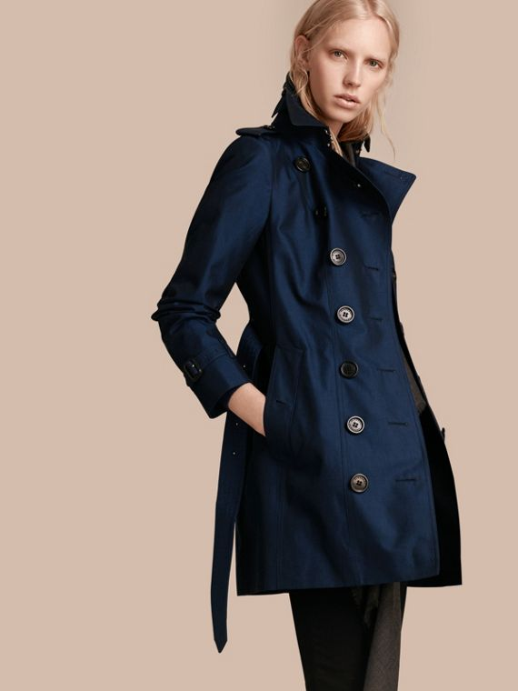 Trench coat in gabardine di cotone Blu Reggenza Intenso