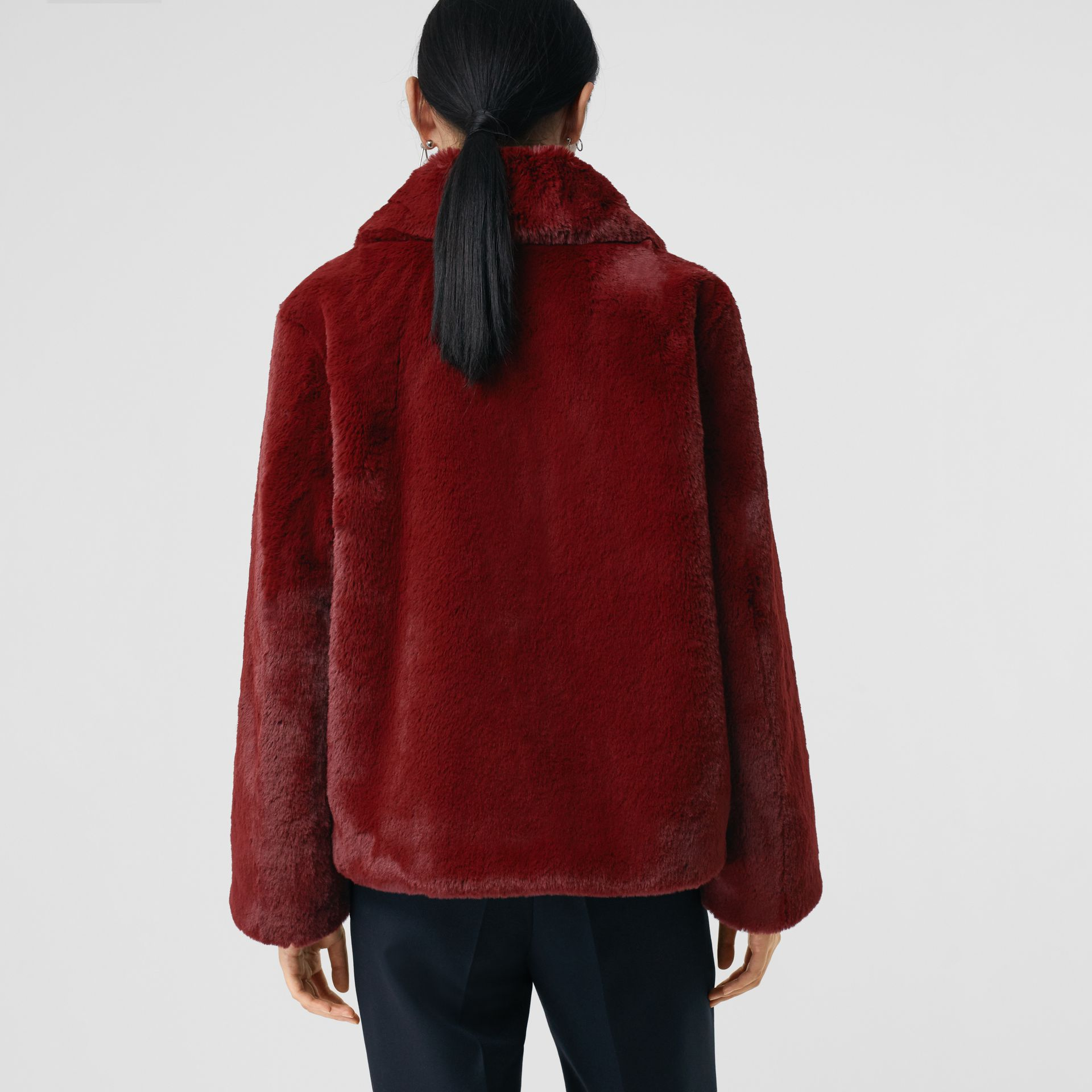 Faux Fur Single-Breasted Jacket in Burgundy - Women | Burberry - gallery image 2