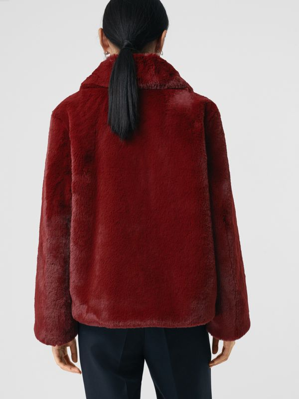 Faux Fur Single-Breasted Jacket in Burgundy - Women | Burberry - cell image 2