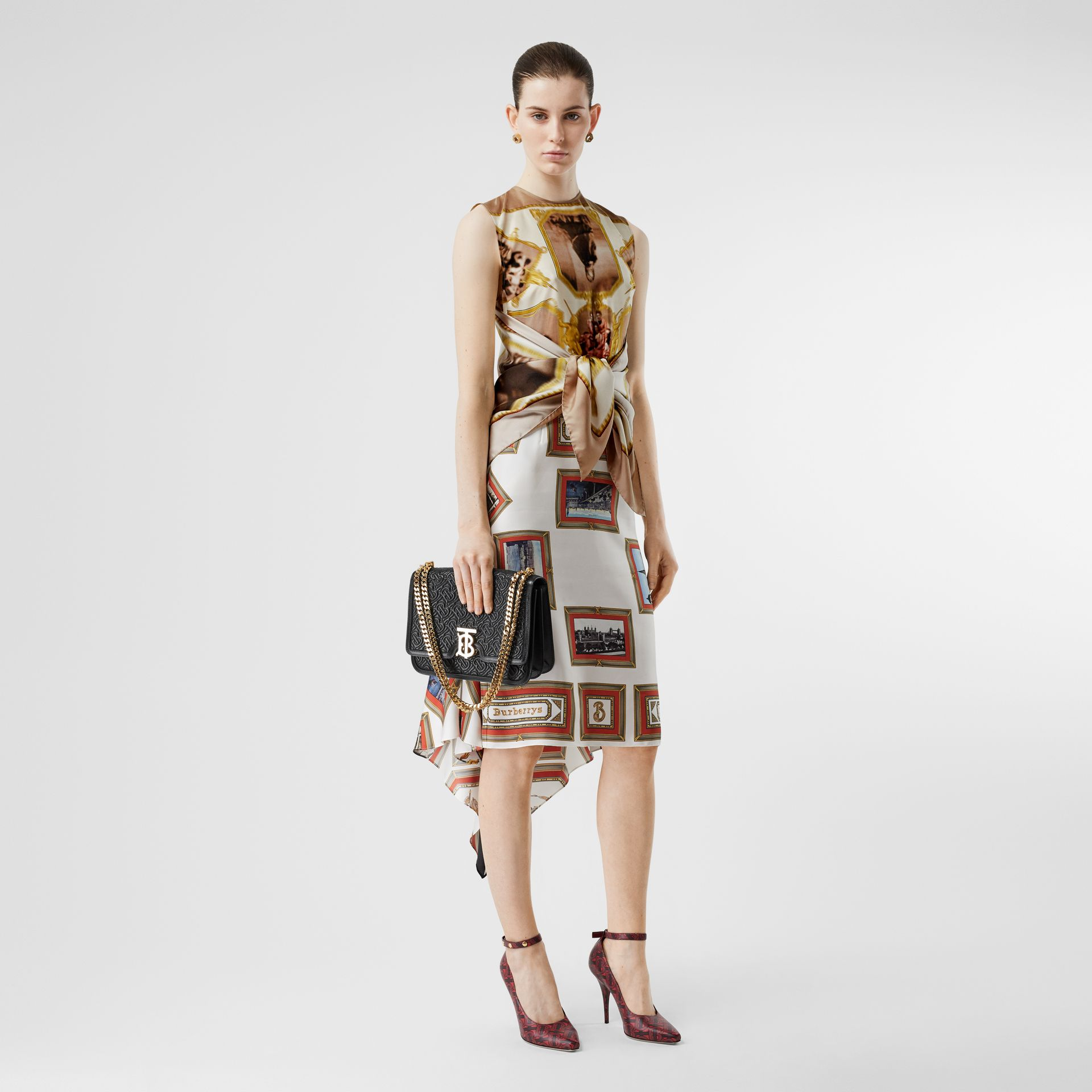 Sleeveless Montage Print Silk Top in Brown - Women | Burberry - gallery image 0