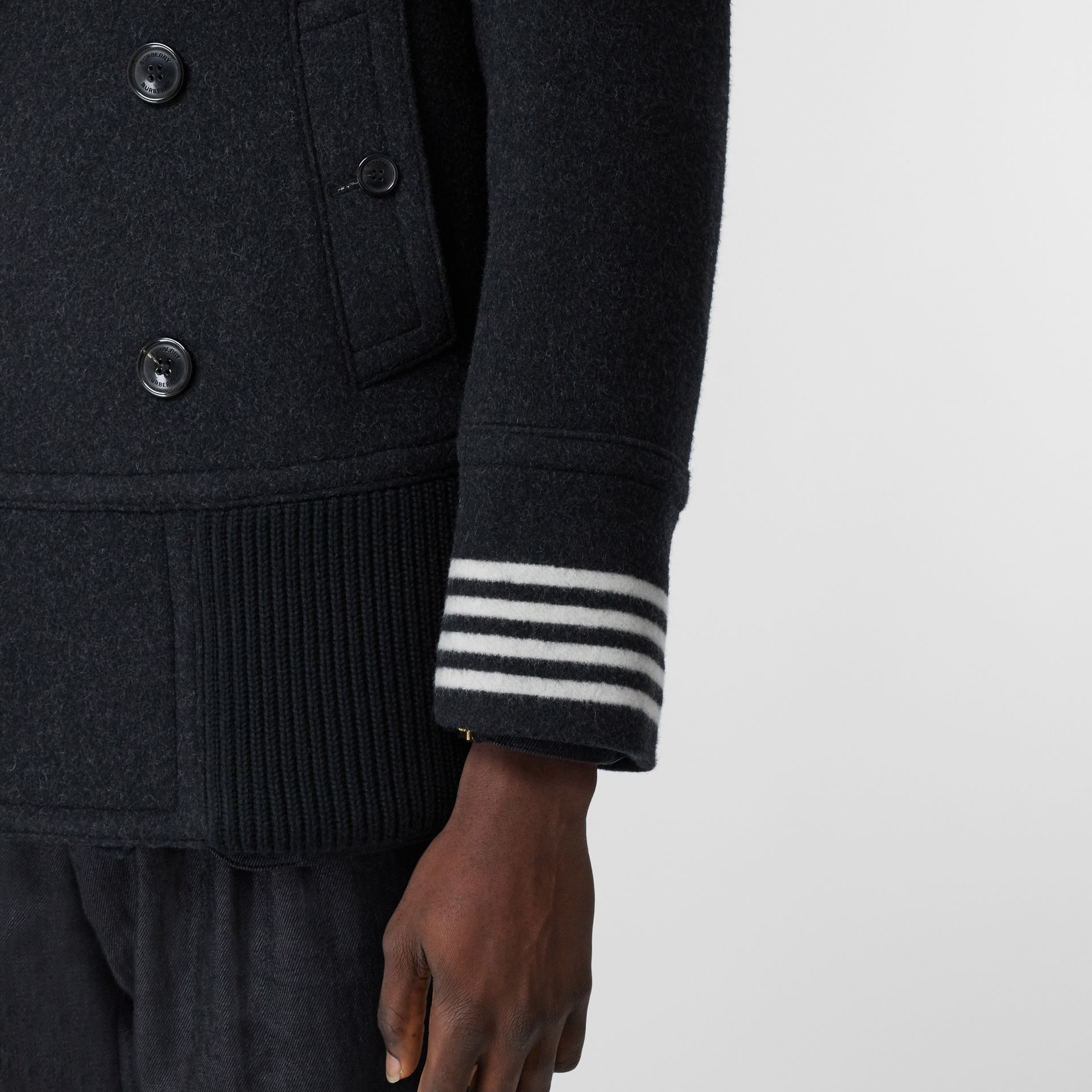 Striped Cuff Wool Pea Coat in Black - Men | Burberry - gallery image 4