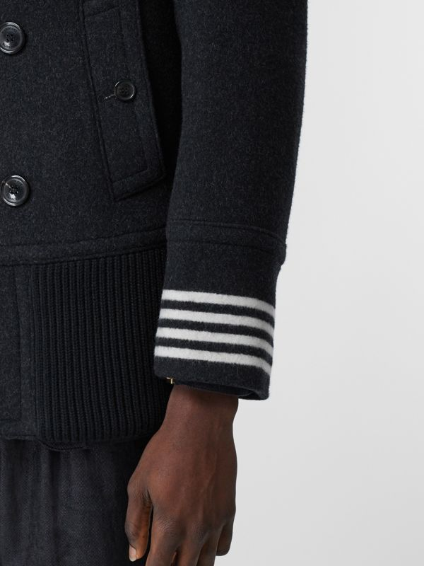 Striped Cuff Wool Pea Coat in Black - Men   Burberry United Kingdom - cell image 3