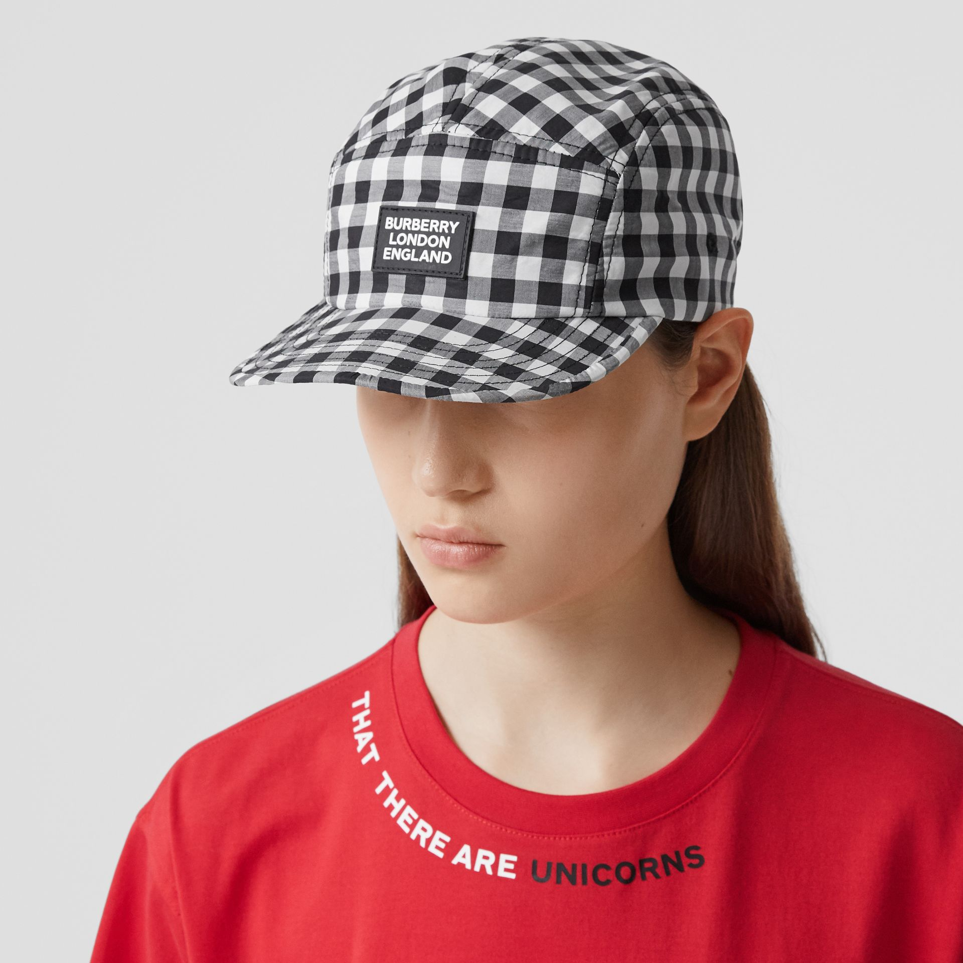 Logo Appliqué Gingham Cotton Cap in Black/white   Burberry United States - gallery image 2