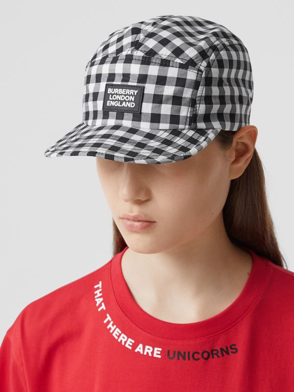 Logo Appliqué Gingham Cotton Cap in Black/white   Burberry United States - cell image 2