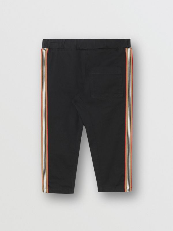 Icon Stripe Detail Cotton Chinos in Black - Children | Burberry - cell image 3