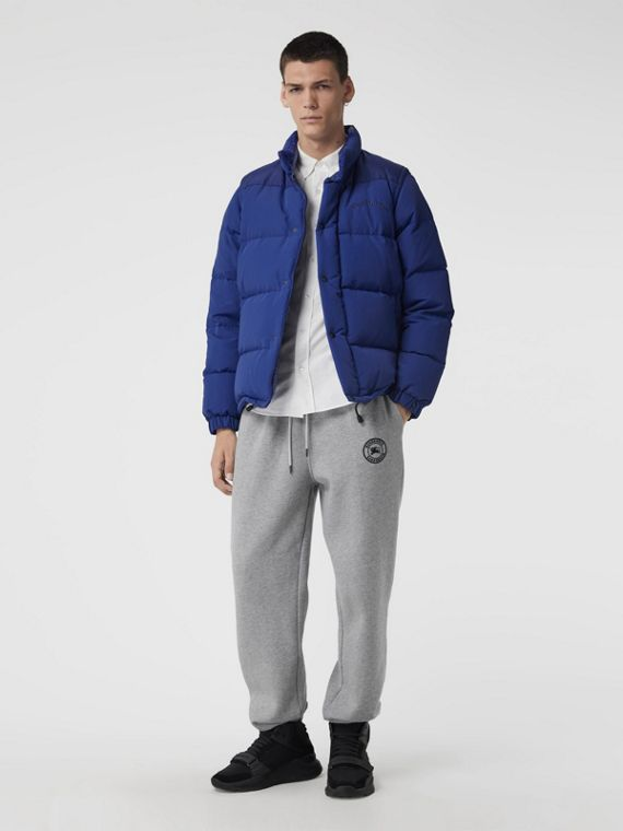 Detachable-sleeve Down-filled Puffer Jacket in Bright Blue