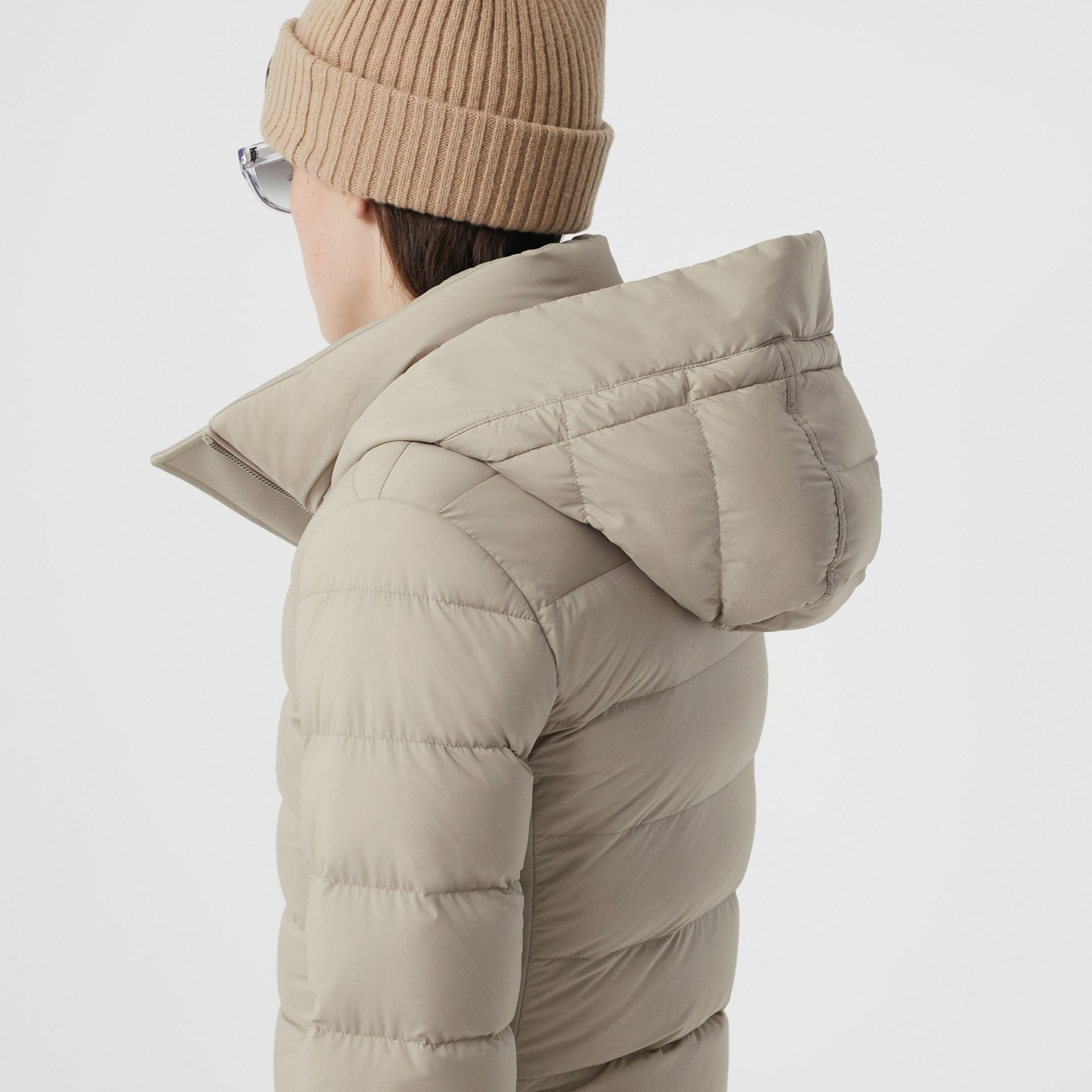 Detachable Faux Fur Trim Hooded Puffer Coat in Neutral Olive - Women | Burberry - gallery image 4