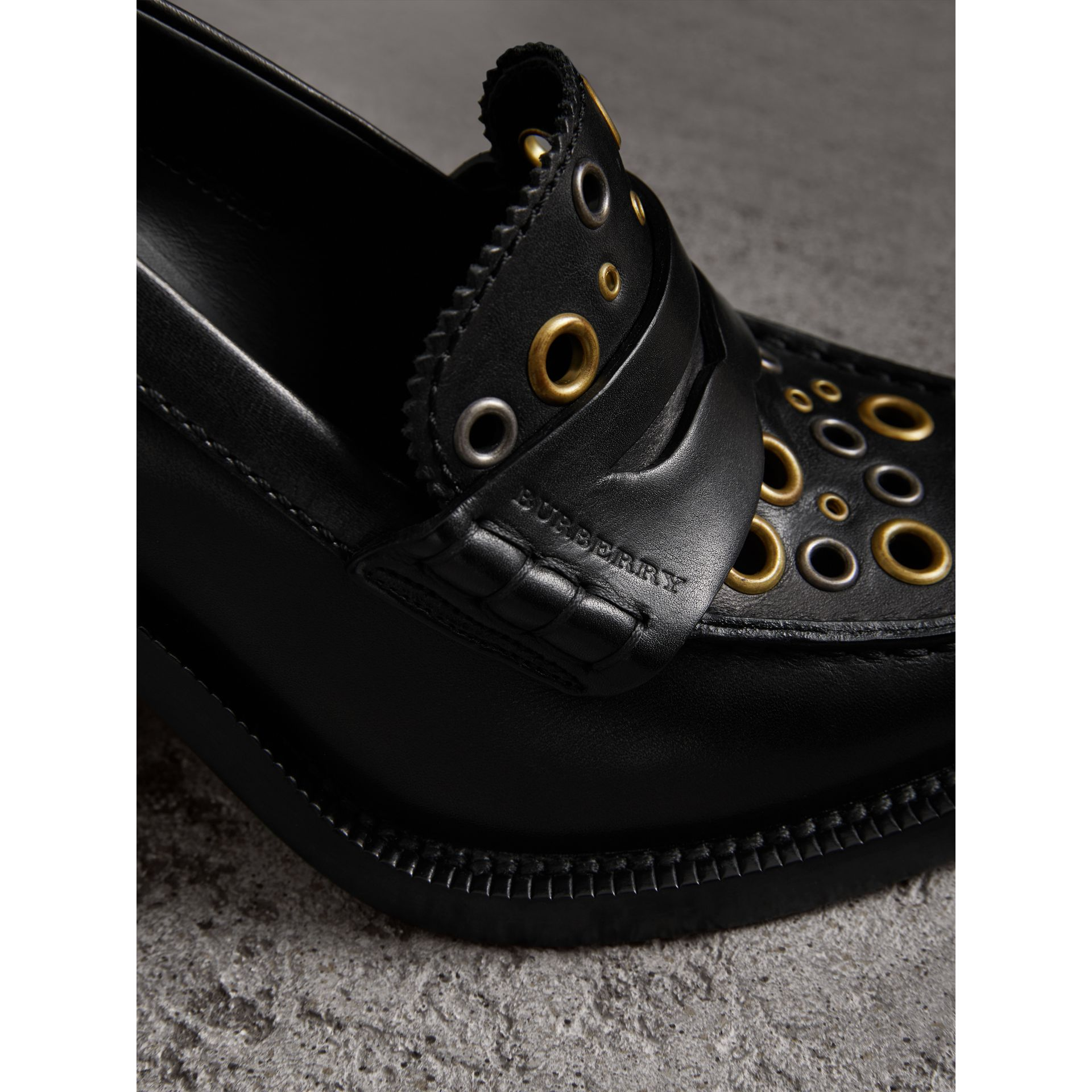 Eyelet Detail Leather Heeled Loafers in Black - Women | Burberry United Kingdom - gallery image 2
