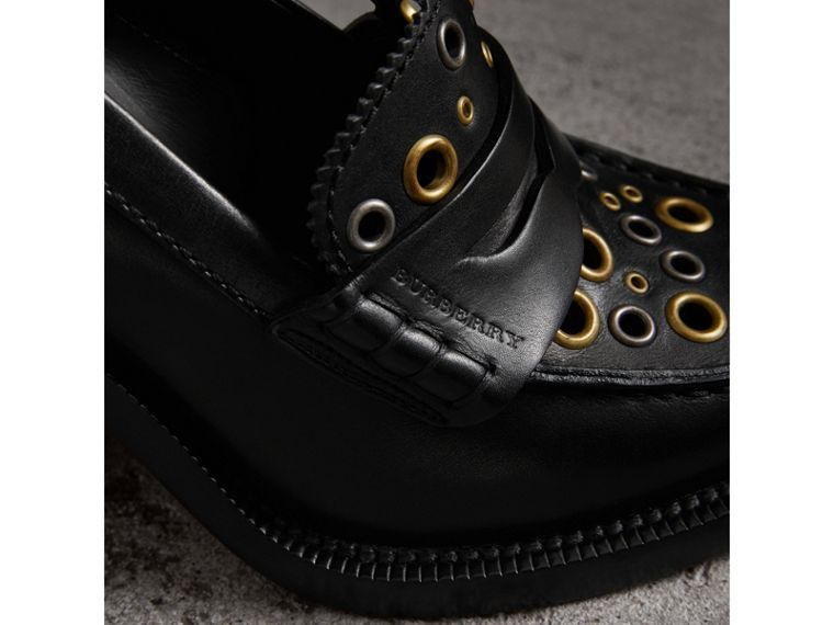 Eyelet Detail Leather Heeled Loafers in Black - Women | Burberry United Kingdom - cell image 1