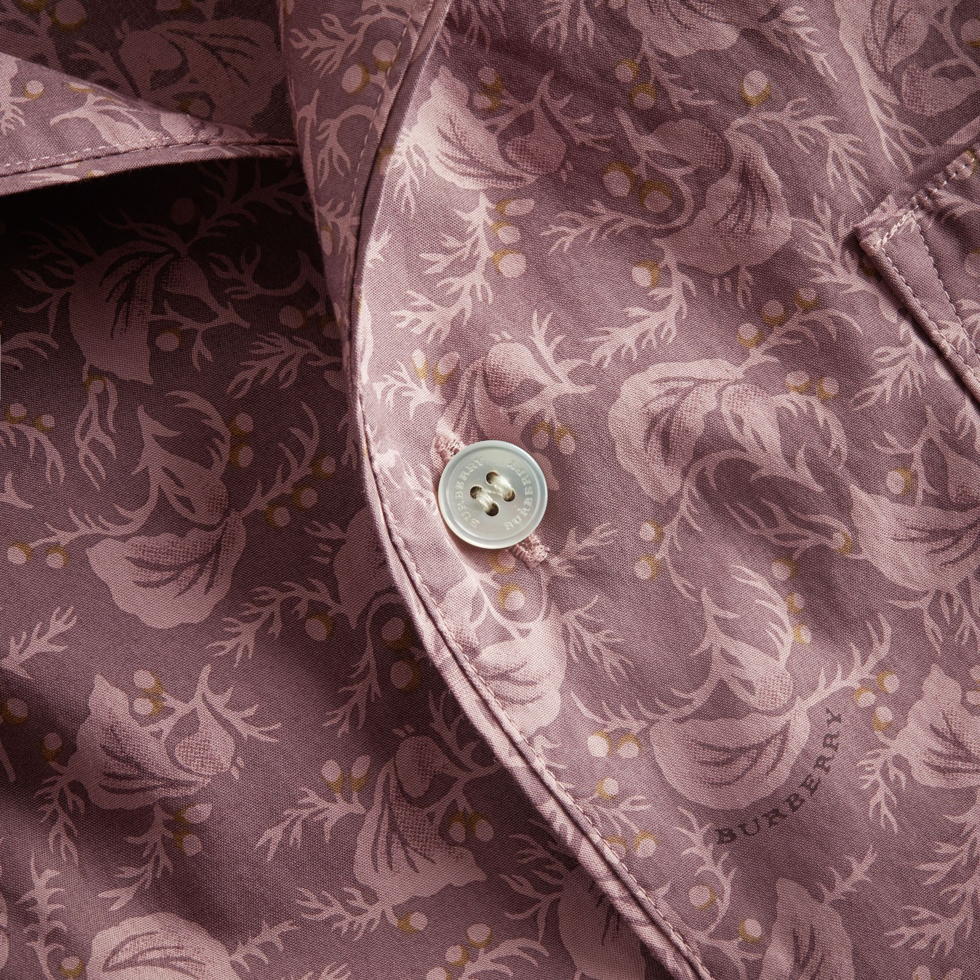 Short-sleeve Leaf Print Cotton Shirt in Mauve - Men | Burberry - gallery image 2