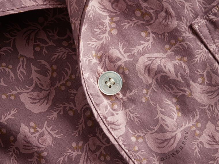 Short-sleeve Leaf Print Cotton Shirt in Mauve - Men | Burberry - cell image 1