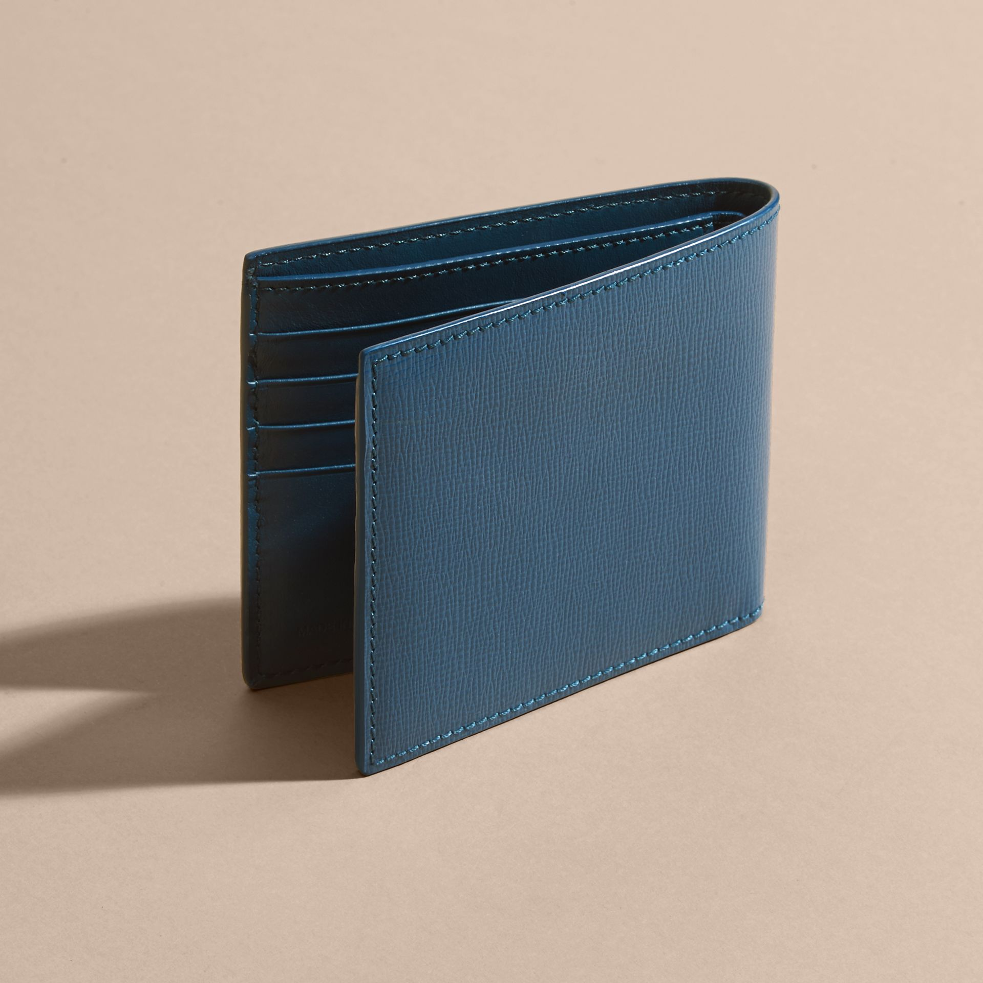 Mineral blue London Leather Folding Wallet Mineral Blue - gallery image 4