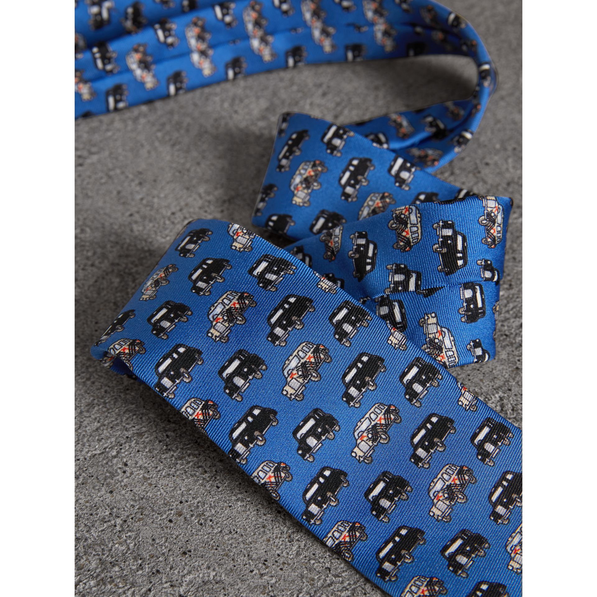 Slim Cut Taxi Print Silk Tie in Hydrangea Blue - Men | Burberry Canada - gallery image 1