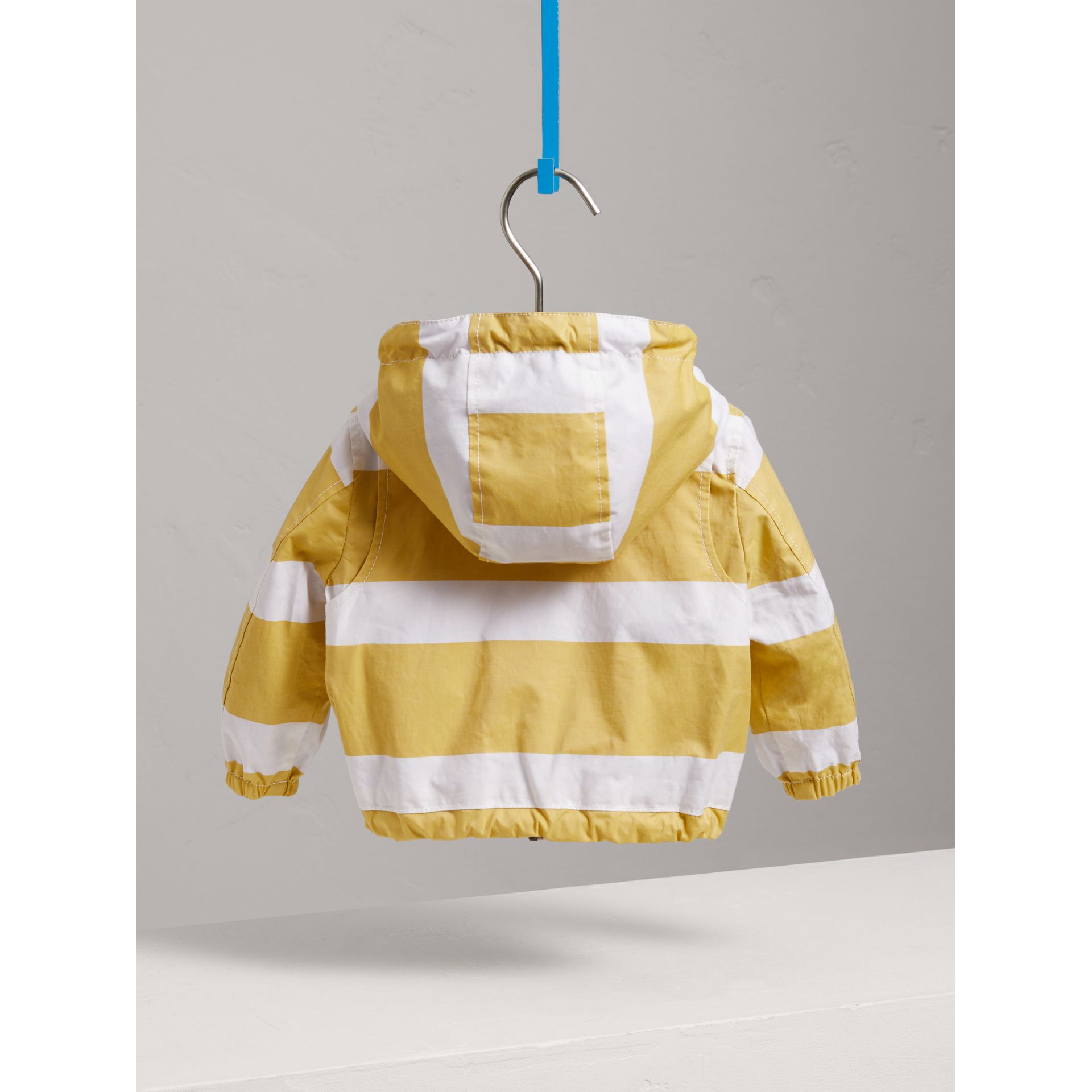 Reversible Stripe and Vintage Check Hooded Jacket in Larch Yellow/whte - Children | Burberry - gallery image 3