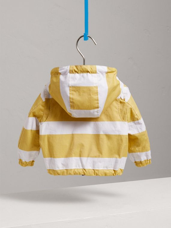Reversible Stripe and Vintage Check Hooded Jacket in Larch Yellow/whte | Burberry - cell image 3
