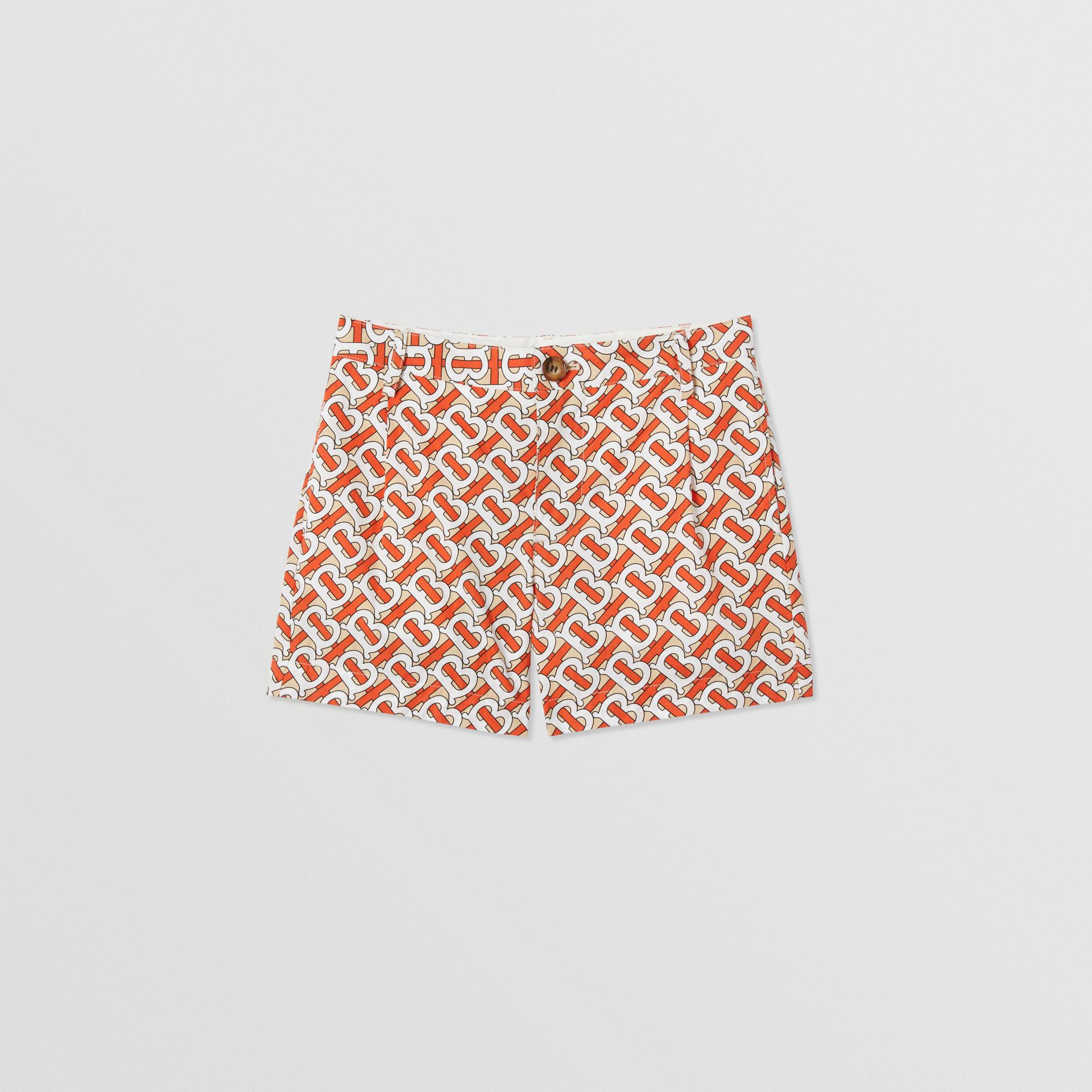 Monogram Print Cotton Poplin Shorts in Vermilion Red | Burberry United States - gallery image 0