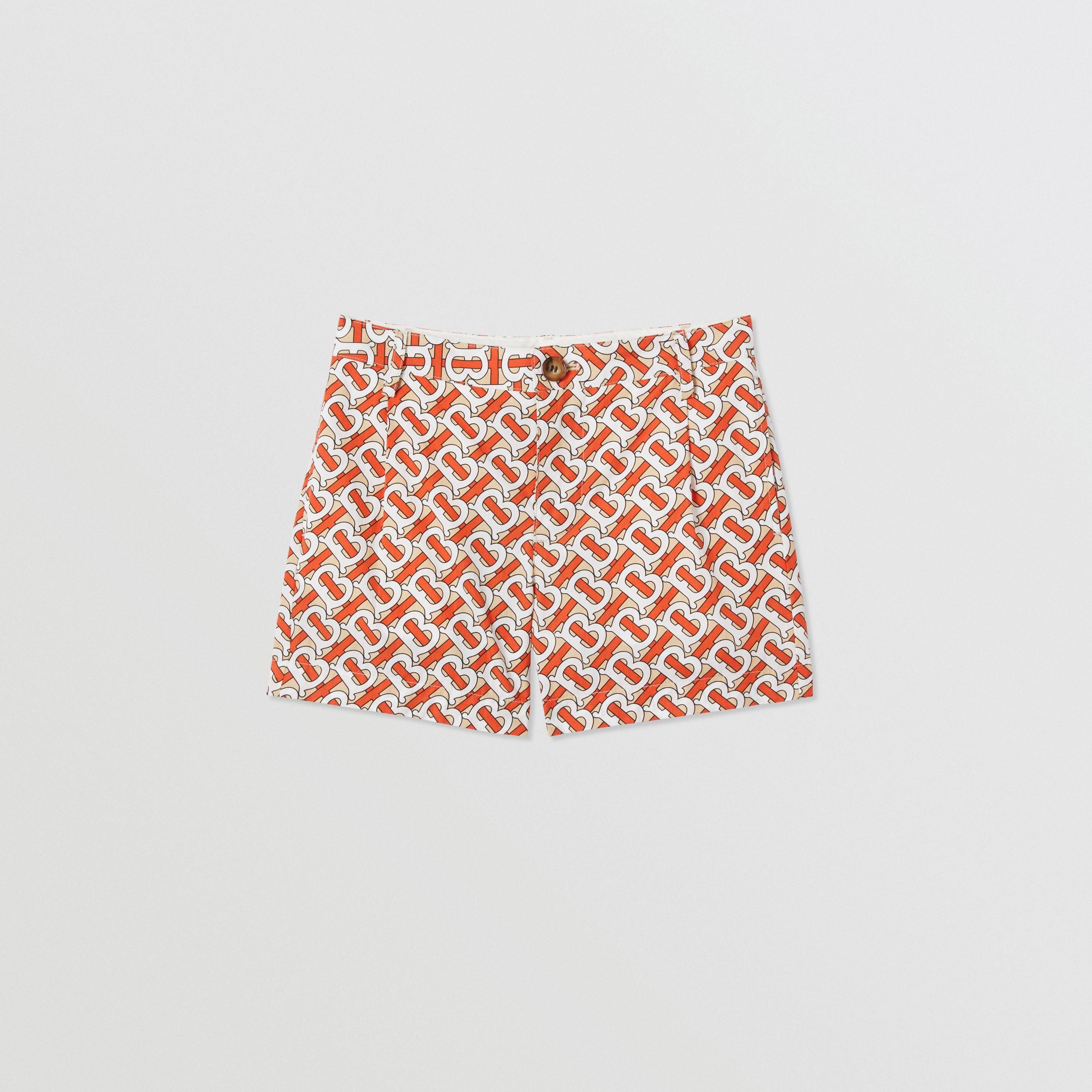 Monogram Print Cotton Poplin Shorts in Vermilion Red | Burberry United Kingdom - 1