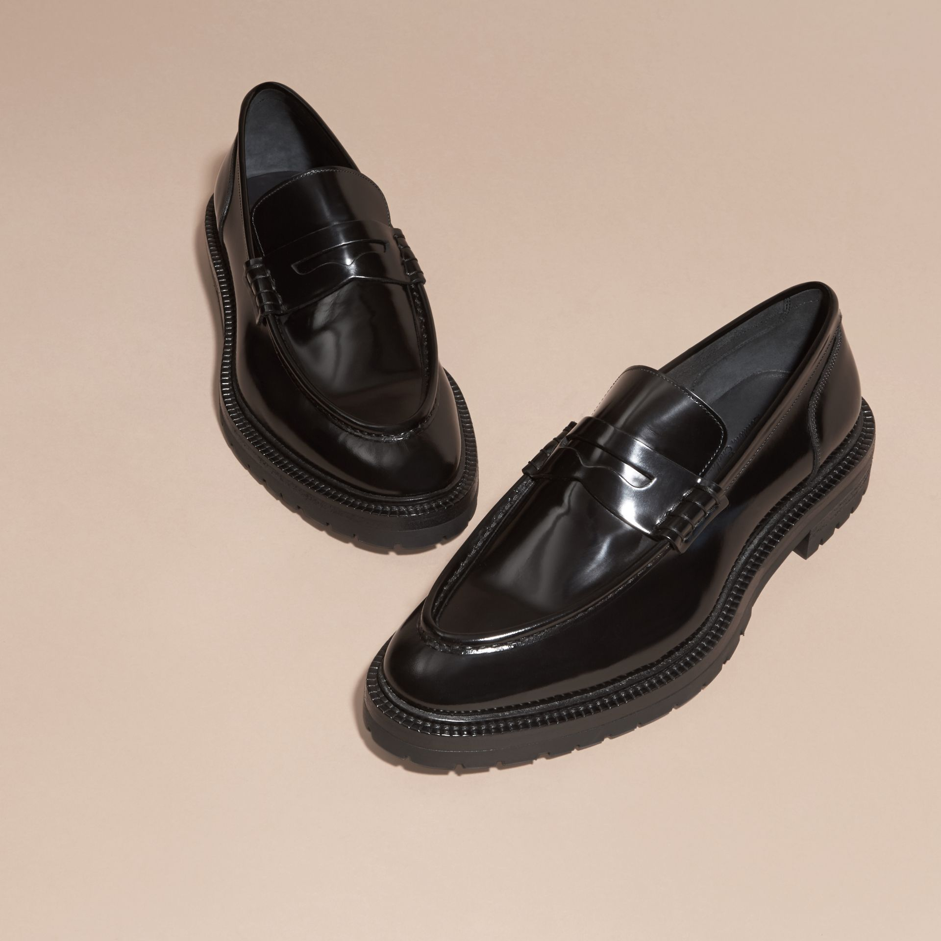 Black Rubber Sole Leather Loafers - gallery image 3