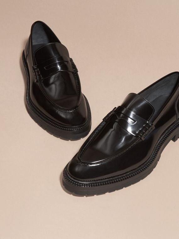 Black Rubber Sole Leather Loafers - cell image 2