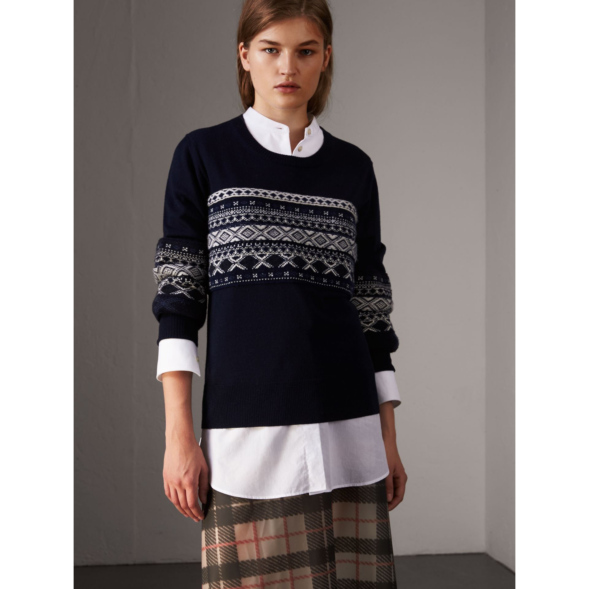 Fair Isle Detail Merino Wool Sweater in Navy - Women | Burberry Australia - gallery image 1