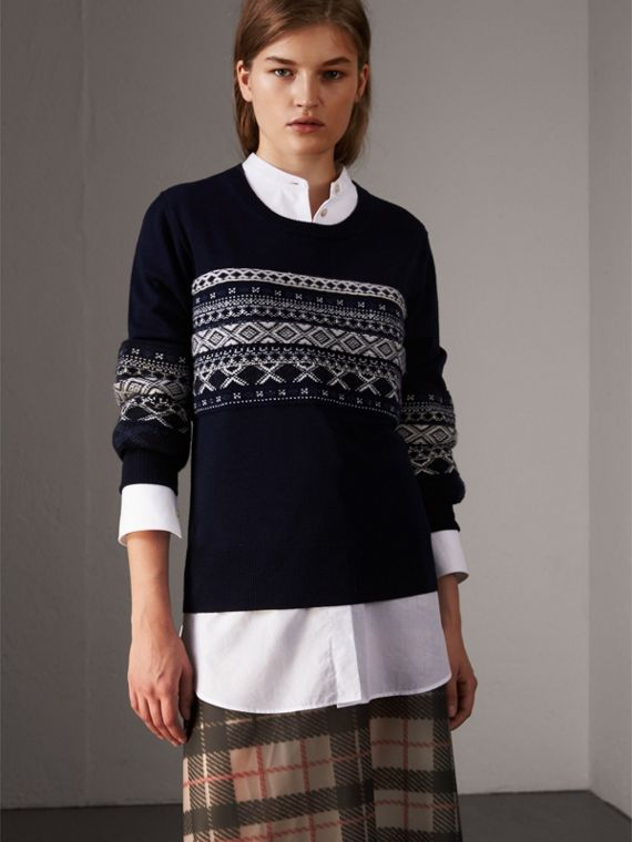Fair Isle Detail Merino Wool Sweater in Navy