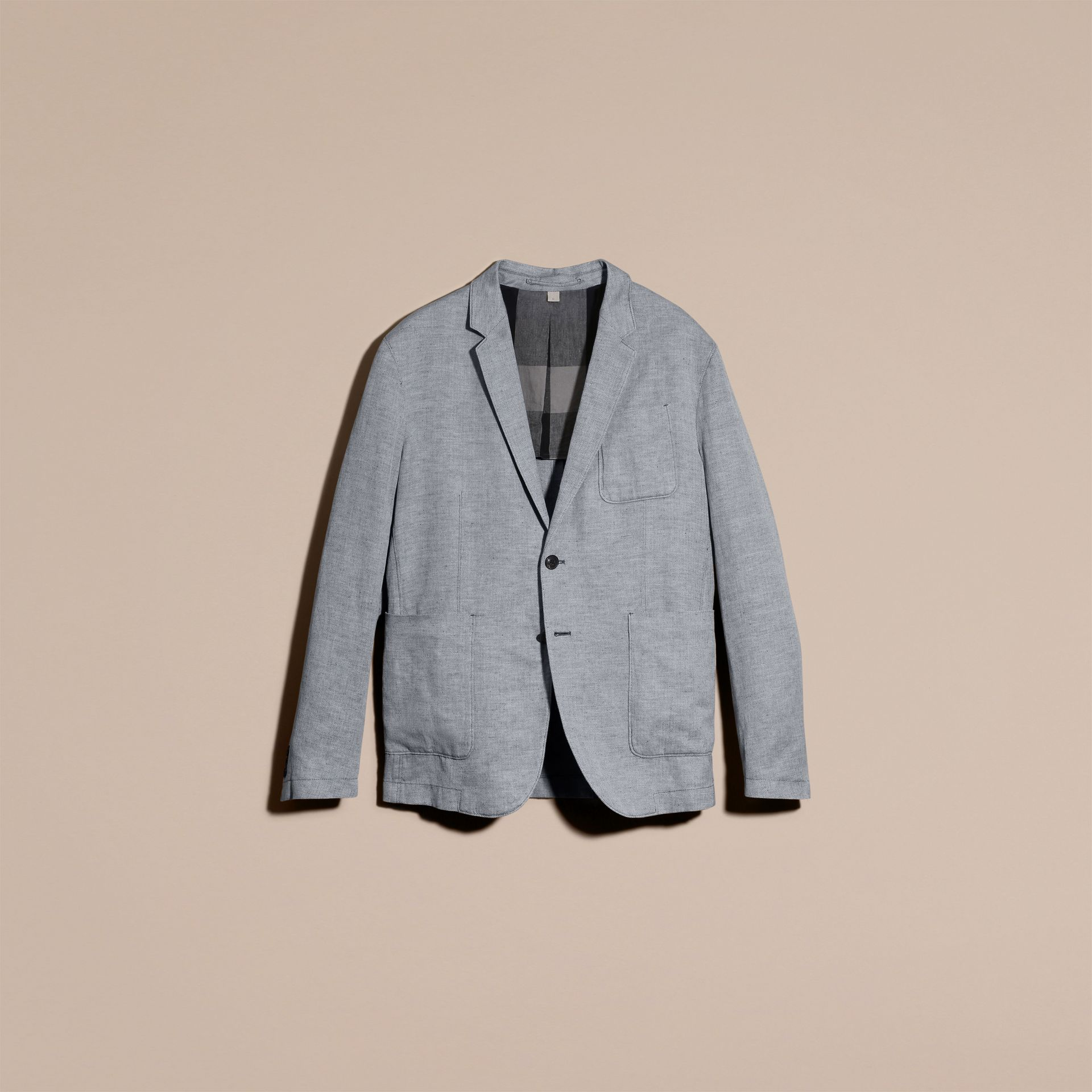 Pale blue Herringbone Linen Cotton Tailored Jacket Pale Blue - gallery image 4
