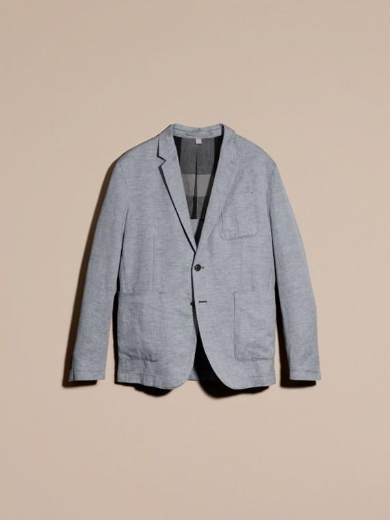 Pale blue Herringbone Linen Cotton Tailored Jacket Pale Blue - cell image 3