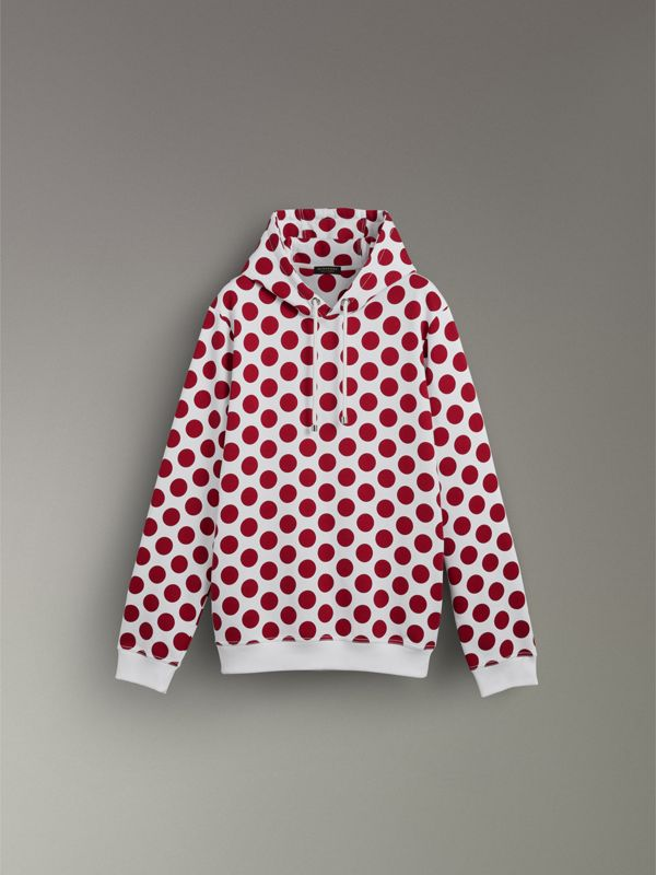 Spot Print Hoodie in Windsor Red - Women | Burberry Singapore - cell image 3